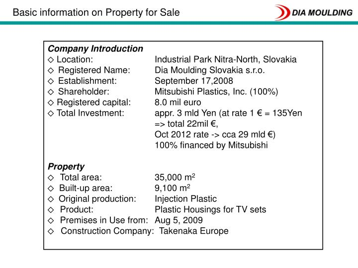 Basic information on Property for Sale