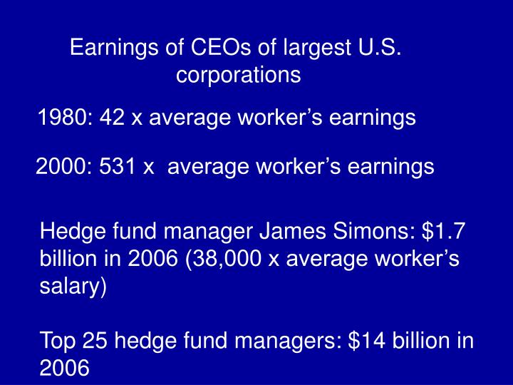 Earnings of CEOs of largest U.S.