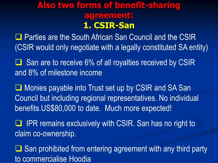 Also two forms of benefit-sharing agreement: