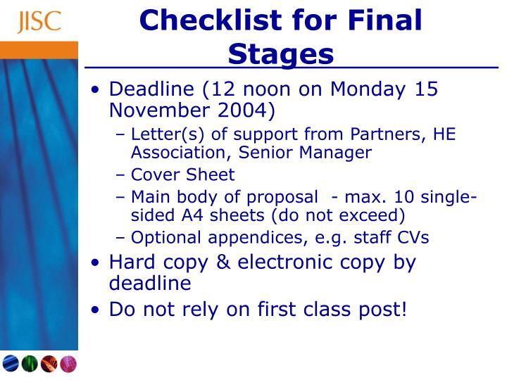 Checklist for Final Stages