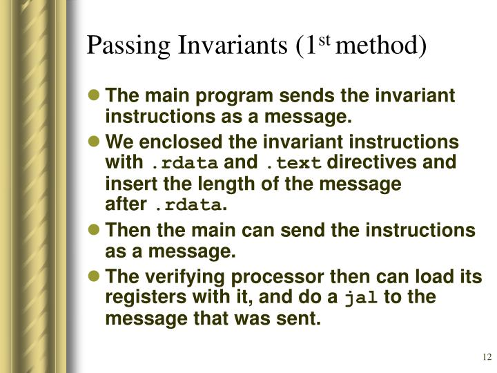 Passing Invariants (1