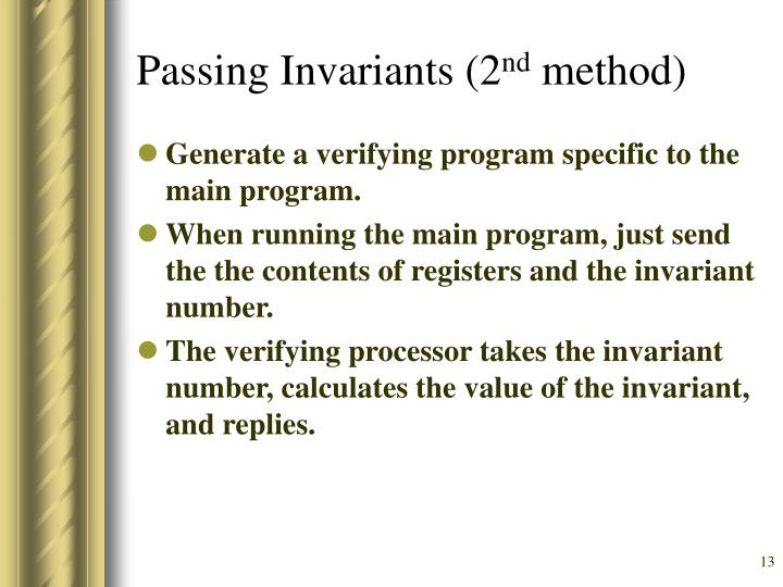 Passing Invariants (2