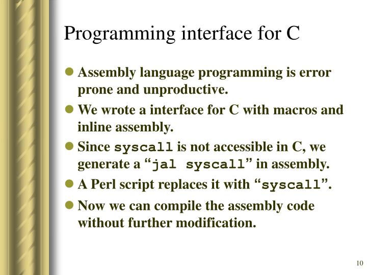 Programming interface for C