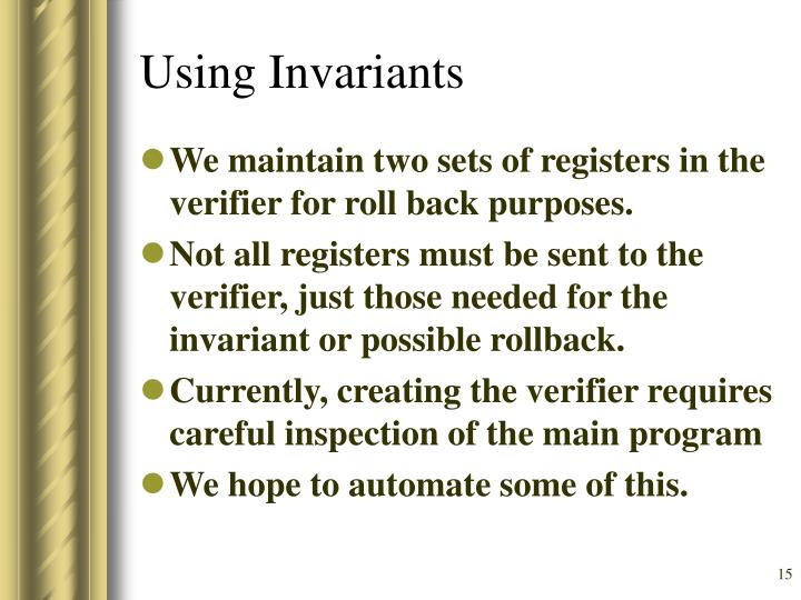Using Invariants