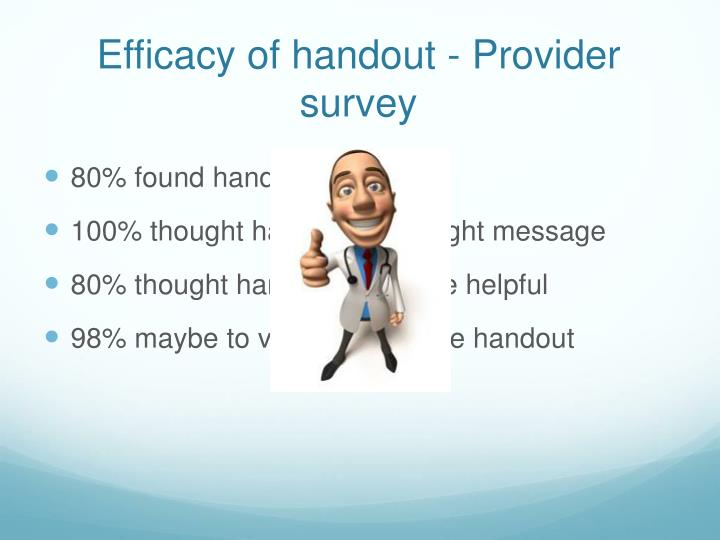 Efficacy of handout - Provider survey
