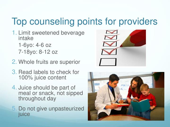 Top counseling points for providers