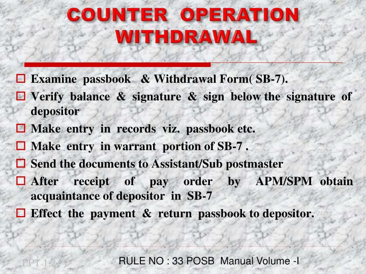 Counter operation withdrawal
