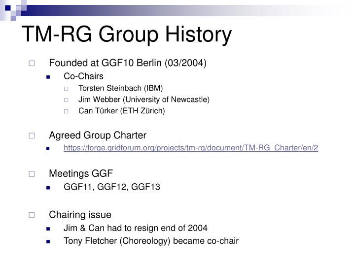 TM-RG Group History