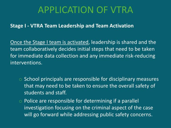 APPLICATION OF VTRA