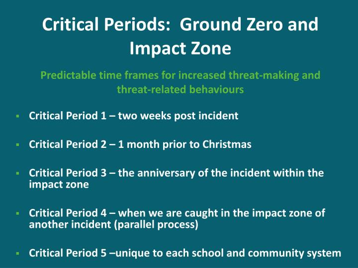 Critical Periods:  Ground Zero and Impact Zone