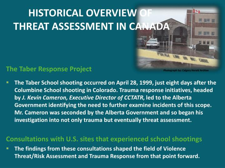 Historical overview of threat assessment in canada