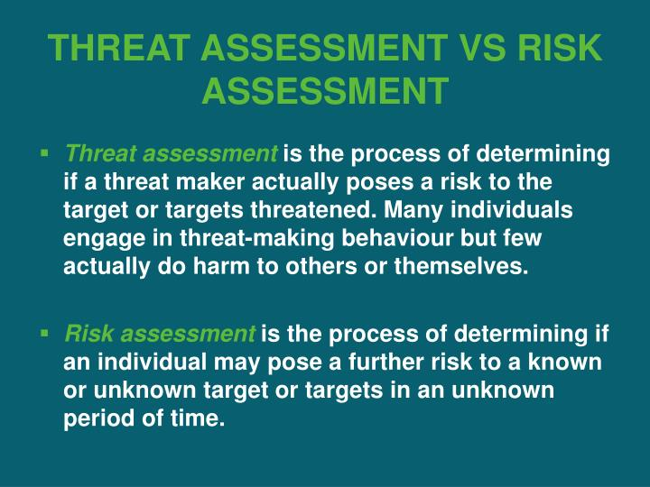 THREAT ASSESSMENT VS RISK ASSESSMENT