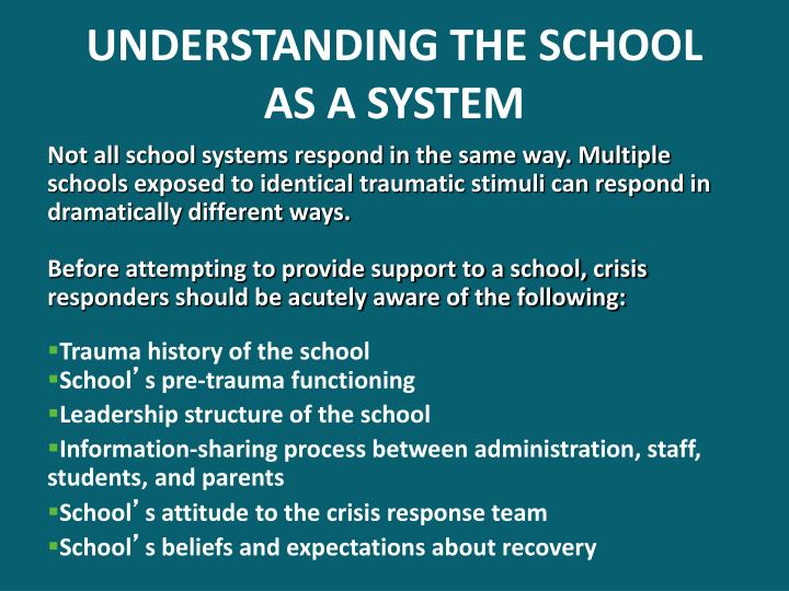 UNDERSTANDING THE SCHOOL
