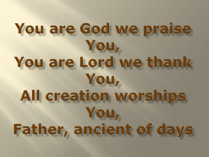You are God we praise You,