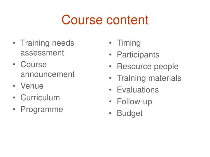 Training needs assessment