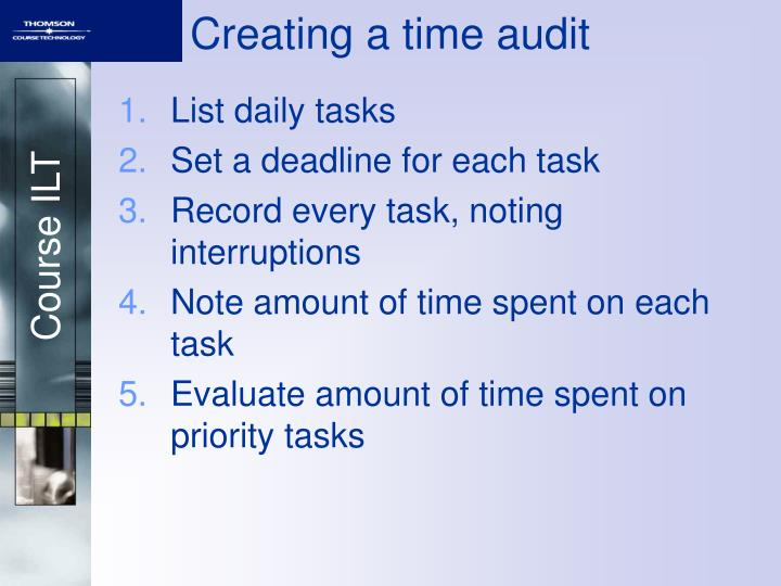 Creating a time audit
