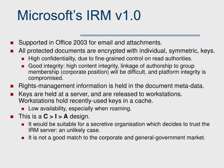 Microsoft's IRM v1.0