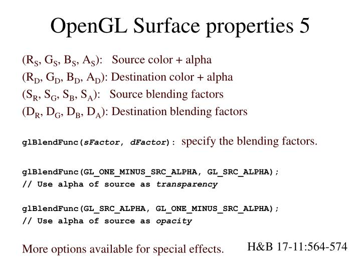 OpenGL Surface properties 5