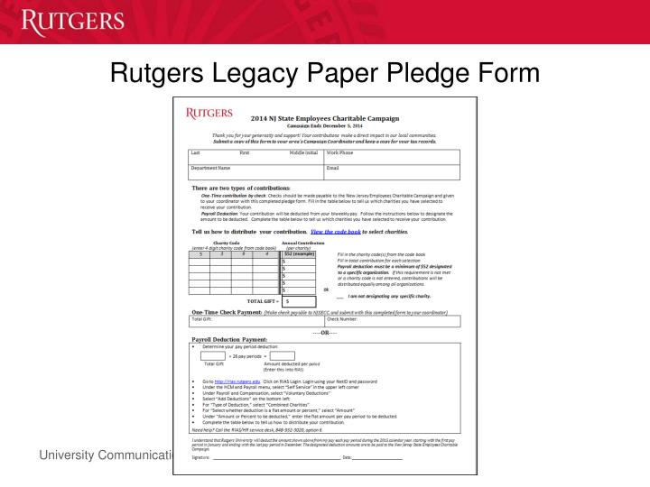 Rutgers Legacy Paper Pledge Form