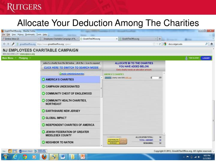 Allocate Your Deduction Among The Charities