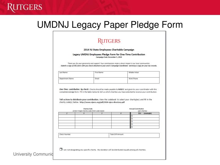 UMDNJ Legacy Paper Pledge Form