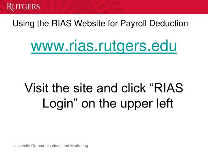 Using the RIAS Website for Payroll Deduction