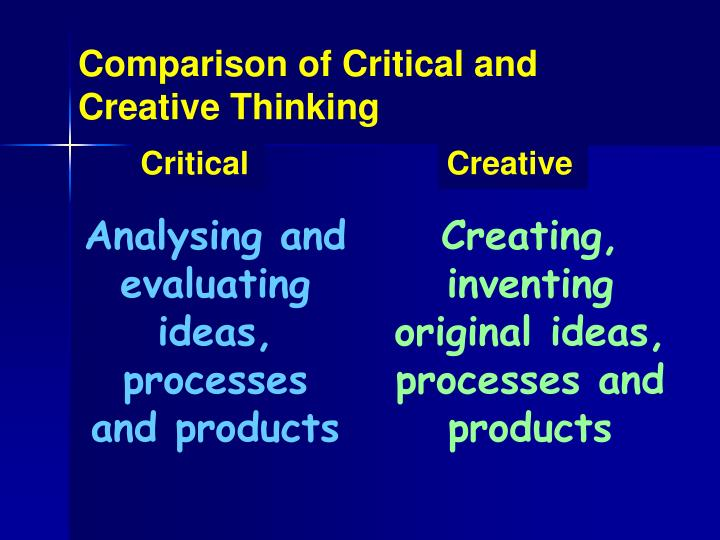 Comparison of Critical and Creative Thinking
