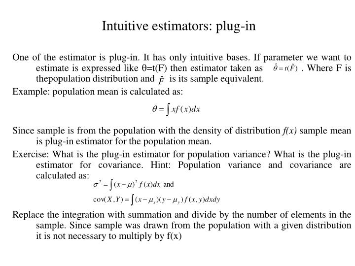 Intuitive estimators: plug-in