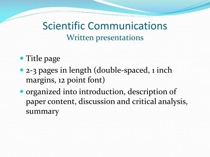 Scientific Communications
