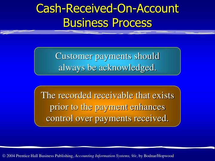 Cash-Received-On-Account Business Process