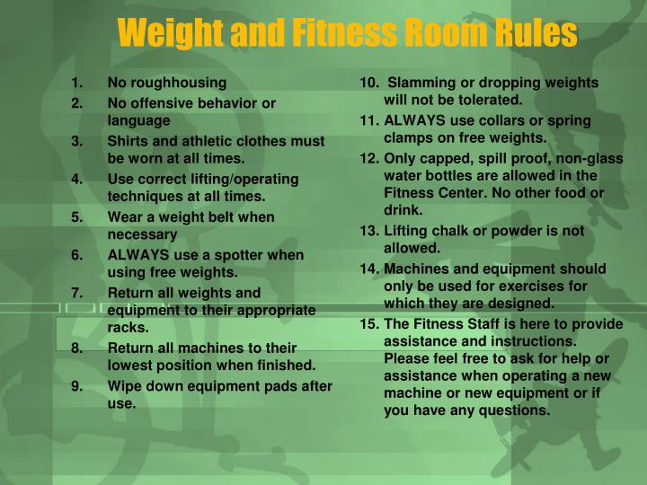 Weight and Fitness Room Rules