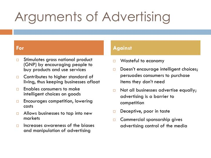 Arguments of advertising