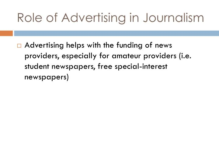 Role of Advertising in Journalism
