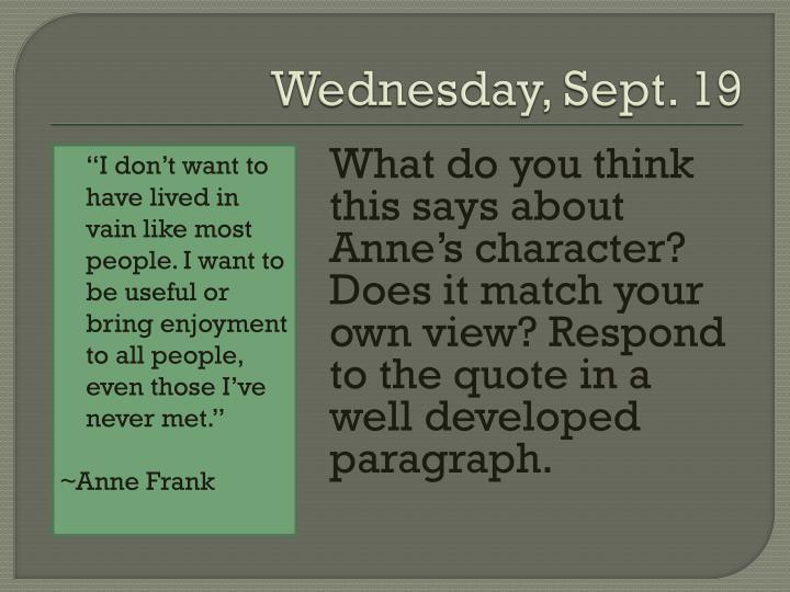 Wednesday, Sept. 19