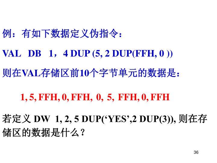 例:有如下数据定义伪指令: