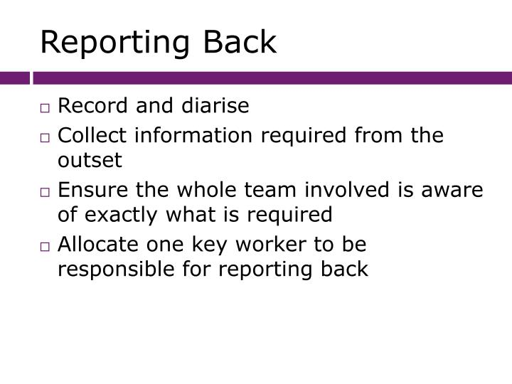 Reporting Back