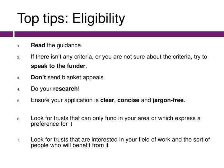 Top tips: Eligibility