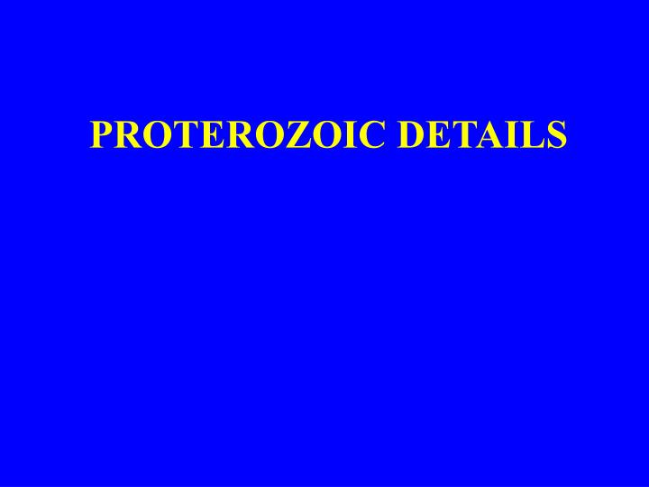 PROTEROZOIC DETAILS