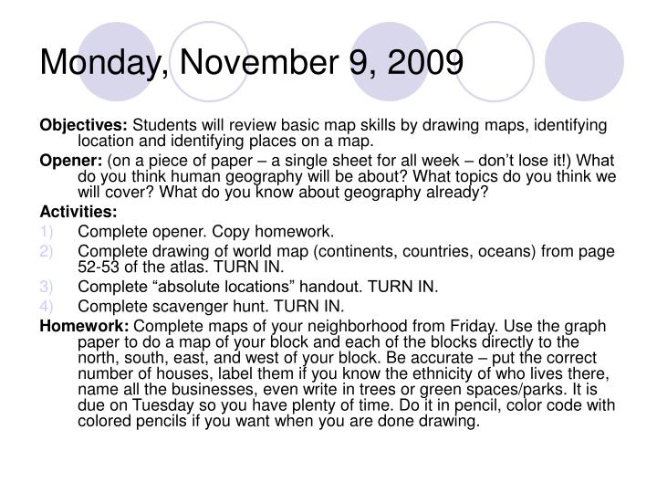 Monday, November 9, 2009