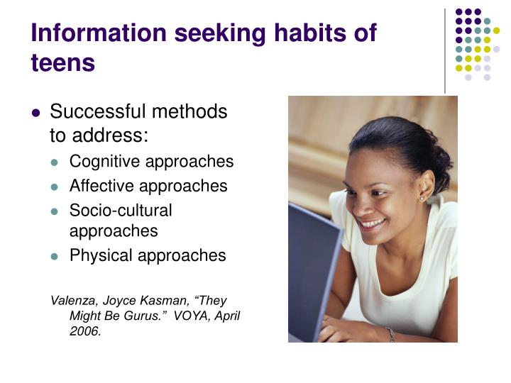 Information seeking habits of teens