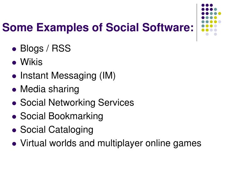 Some Examples of Social Software: