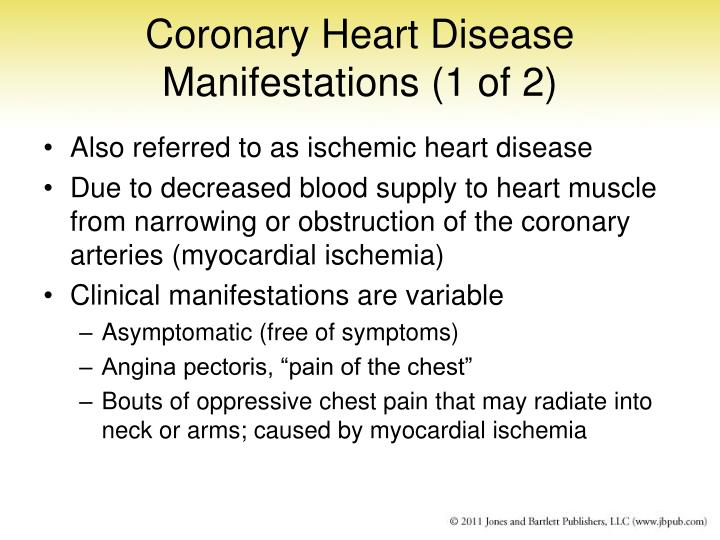 Coronary Heart Disease Manifestations (1 of 2)