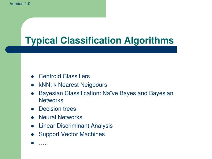 Typical Classification Algorithms