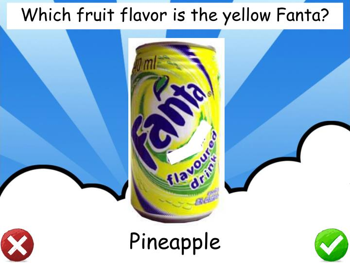 Which fruit flavor is the yellow Fanta?