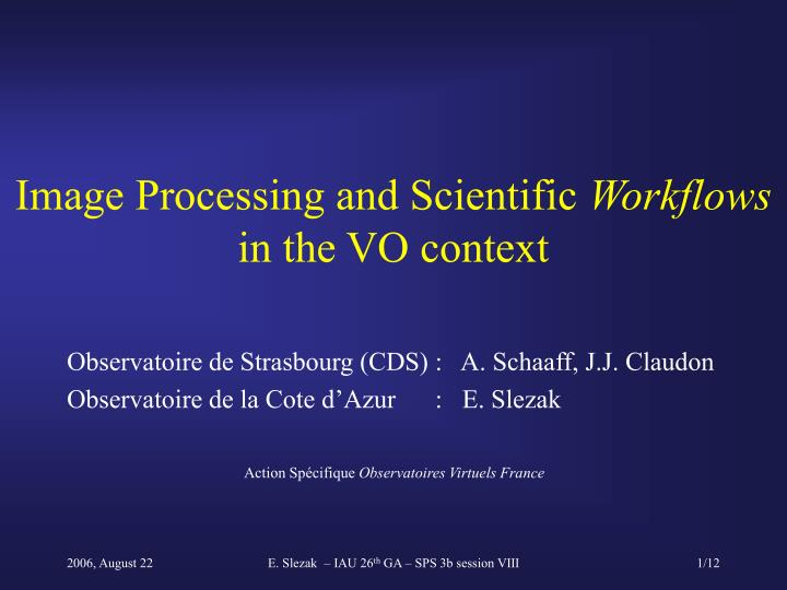 Image processing and scientific workflows in the vo context