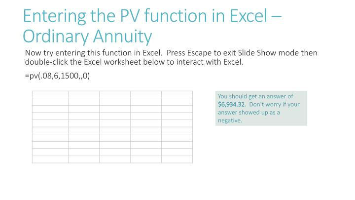Entering the PV function in Excel – Ordinary Annuity