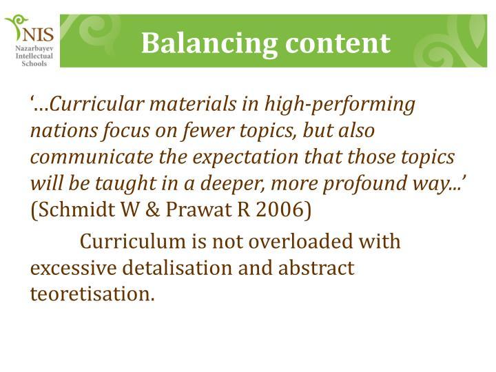 Balancing content