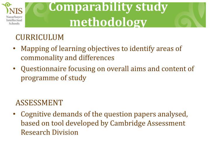 Comparability study methodology