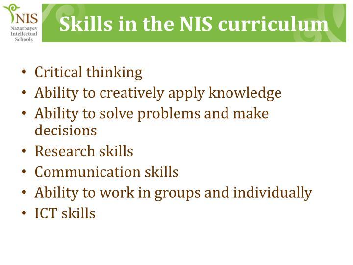 Skills in the NIS curriculum