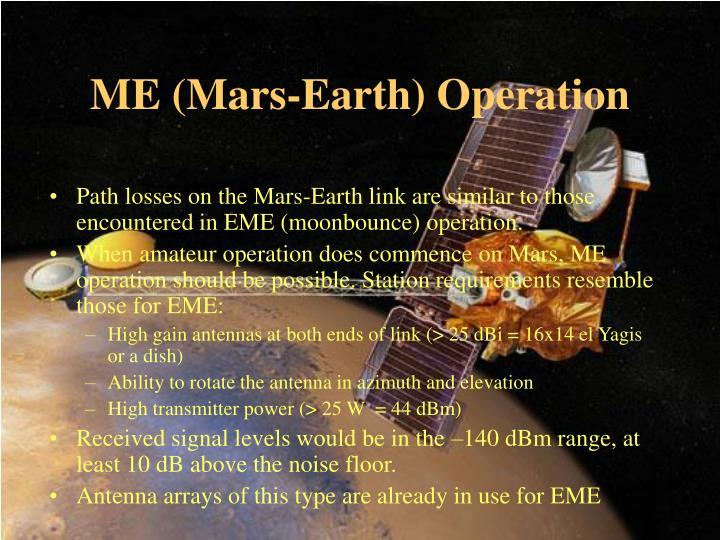 ME (Mars-Earth) Operation
